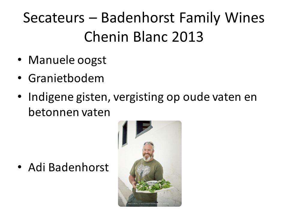 Secateurs – Badenhorst Family Wines Chenin Blanc 2013 Manuele oogst Granietbodem Indigene gisten, vergisting op oude vaten en betonnen vaten Adi Baden