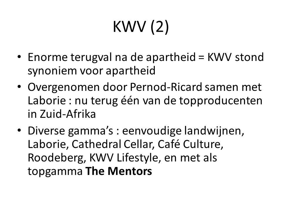 KWV (2) Enorme terugval na de apartheid = KWV stond synoniem voor apartheid Overgenomen door Pernod-Ricard samen met Laborie : nu terug één van de top