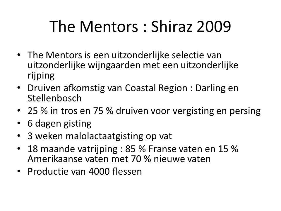 The Mentors : Shiraz 2009 The Mentors is een uitzonderlijke selectie van uitzonderlijke wijngaarden met een uitzonderlijke rijping Druiven afkomstig v