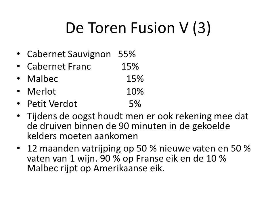 De Toren Fusion V (3) Cabernet Sauvignon 55% Cabernet Franc 15% Malbec 15% Merlot 10% Petit Verdot 5% Tijdens de oogst houdt men er ook rekening mee d
