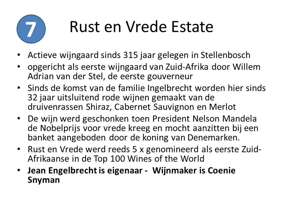 Rust en Vrede Estate Actieve wijngaard sinds 315 jaar gelegen in Stellenbosch opgericht als eerste wijngaard van Zuid-Afrika door Willem Adrian van de