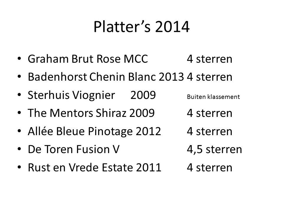 Platter's 2014 Graham Brut Rose MCC4 sterren Badenhorst Chenin Blanc 20134 sterren Sterhuis Viognier2009 Buiten klassement The Mentors Shiraz 20094 st