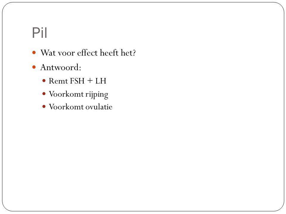 Pil Wat voor effect heeft het? Antwoord: Remt FSH + LH Voorkomt rijping Voorkomt ovulatie