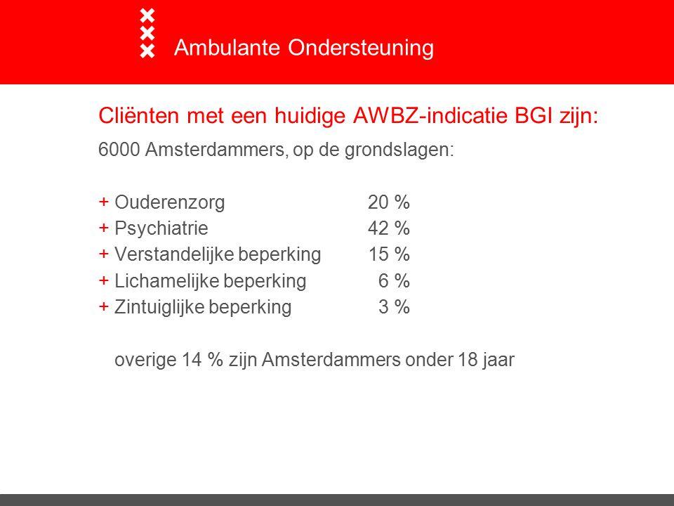 Cliënten met een huidige AWBZ-indicatie BGI zijn: 6000 Amsterdammers, op de grondslagen: +Ouderenzorg20 % +Psychiatrie42 % +Verstandelijke beperking15 % +Lichamelijke beperking 6 % +Zintuiglijke beperking 3 % overige 14 % zijn Amsterdammers onder 18 jaar Ambulante Ondersteuning
