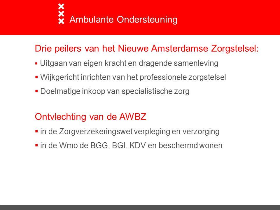 Drie peilers van het Nieuwe Amsterdamse Zorgstelsel:  Uitgaan van eigen kracht en dragende samenleving  Wijkgericht inrichten van het professionele zorgstelsel  Doelmatige inkoop van specialistische zorg Ontvlechting van de AWBZ  in de Zorgverzekeringswet verpleging en verzorging  in de Wmo de BGG, BGI, KDV en beschermd wonen