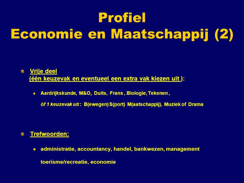 Profiel Economie en Maatschappij (2) Vrije deel (één keuzevak en eventueel een extra vak kiezen uit ): Aardrijkskunde, M&O, Duits, Frans, Biologie, Tekenen, òf 1 keuzevak uit : B(ewegen) S(port) M(aatschappij), Muziek of Drama Trefwoorden: administratie, accountancy, handel, bankwezen, management toerisme/recreatie, economie