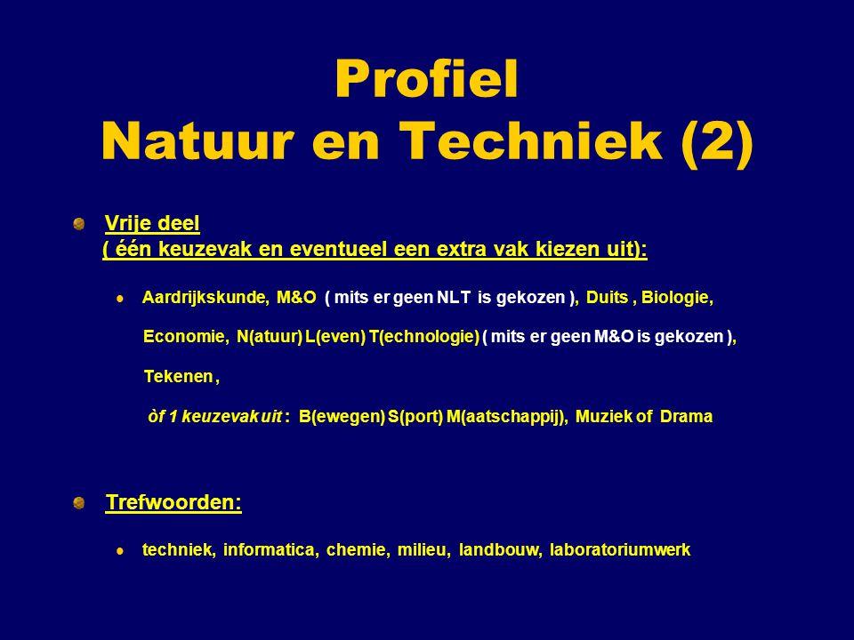 Profiel Natuur en Techniek (2) Vrije deel ( één keuzevak en eventueel een extra vak kiezen uit): Aardrijkskunde, M&O ( mits er geen NLT is gekozen ), Duits, Biologie, Economie, N(atuur) L(even) T(echnologie) ( mits er geen M&O is gekozen ), Tekenen, òf 1 keuzevak uit : B(ewegen) S(port) M(aatschappij), Muziek of Drama Trefwoorden: techniek, informatica, chemie, milieu, landbouw, laboratoriumwerk