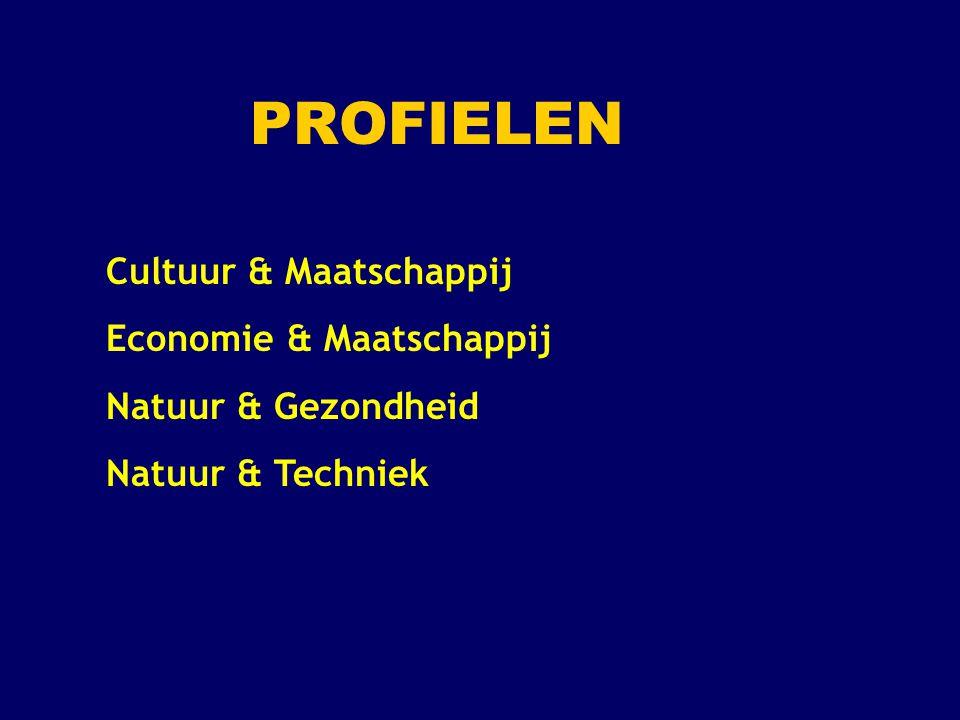 Profiel Cultuur en Maatschappij (1) Verplichte profielvakken: 2 e MVT ( Duits of Frans ) en Geschiedenis Profielkeuzevakken: 1 keuzevak uit : Duits, Frans of Kunstvak ( Tekenen, Muziek of Drama ) en 1 keuzevak uit: Aardrijkskunde of Economie