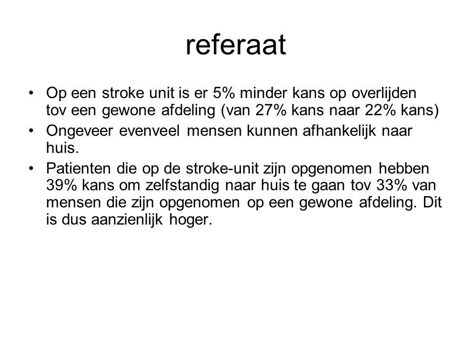 referaat Op een stroke unit is er 5% minder kans op overlijden tov een gewone afdeling (van 27% kans naar 22% kans) Ongeveer evenveel mensen kunnen af
