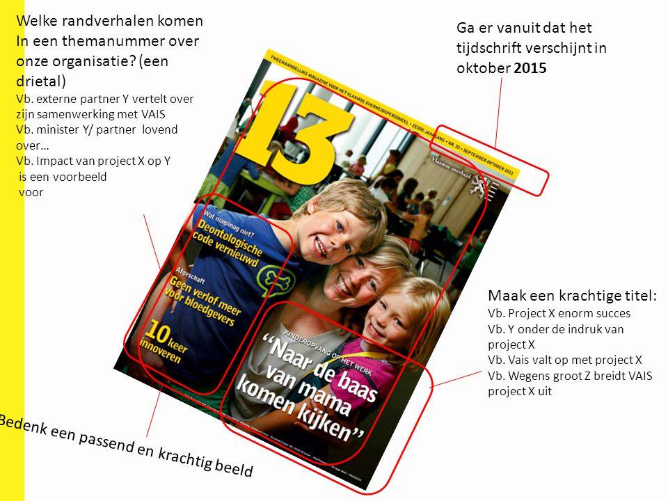 Ga er vanuit dat het tijdschrift verschijnt in oktober 2015 Maak een krachtige titel: Vb. Project X enorm succes Vb. Y onder de indruk van project X V
