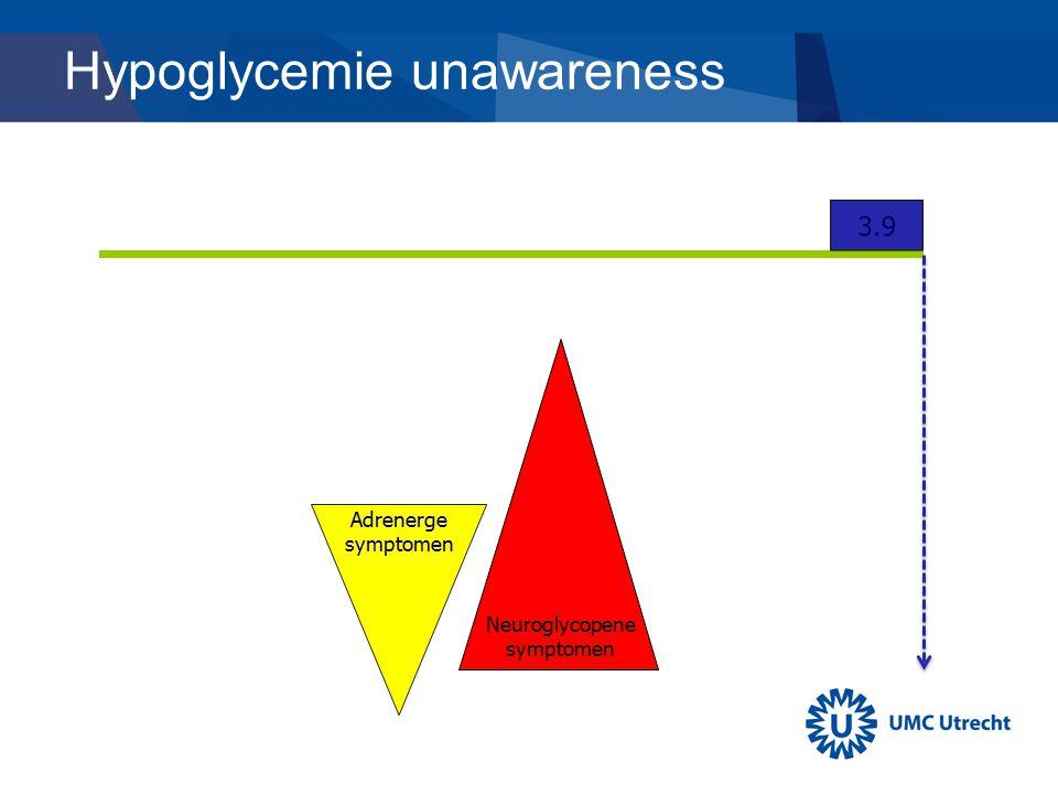 Hypoglycemie unawareness Adrenerge symptomen Neuroglycopene symptomen