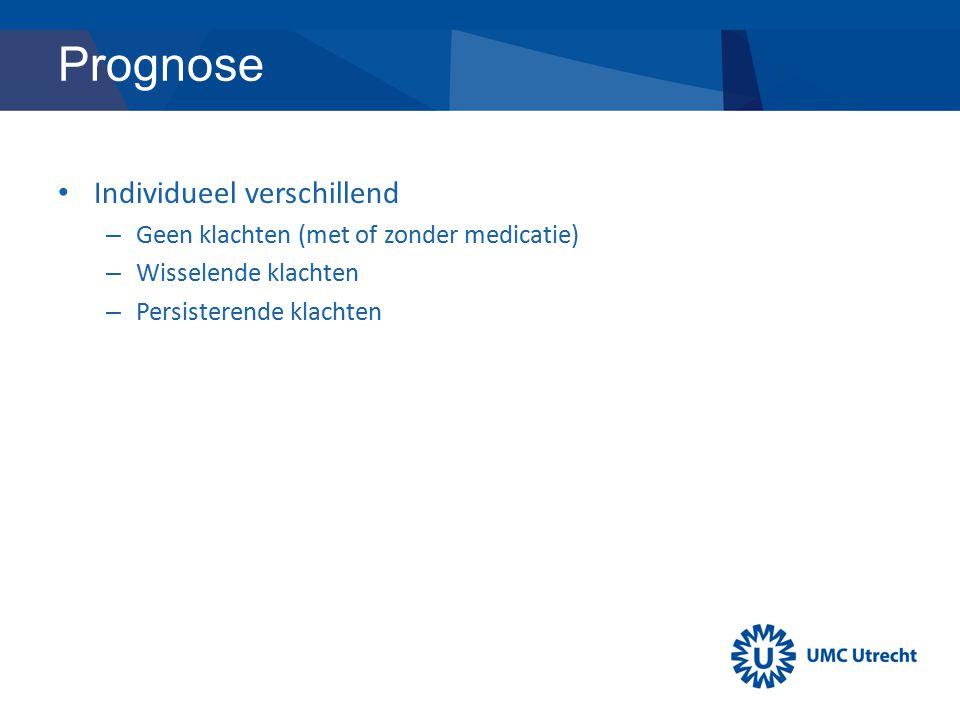 Prognose Individueel verschillend – Geen klachten (met of zonder medicatie) – Wisselende klachten – Persisterende klachten