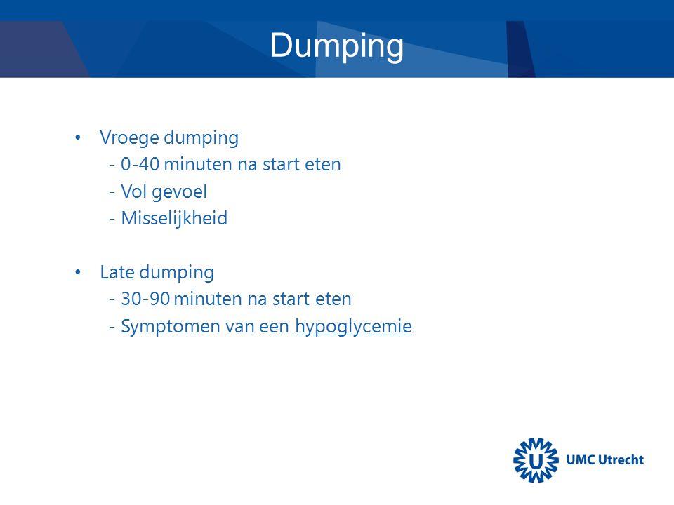Vroege dumping - 0-40 minuten na start eten - Vol gevoel - Misselijkheid Late dumping - 30-90 minuten na start eten - Symptomen van een hypoglycemie D
