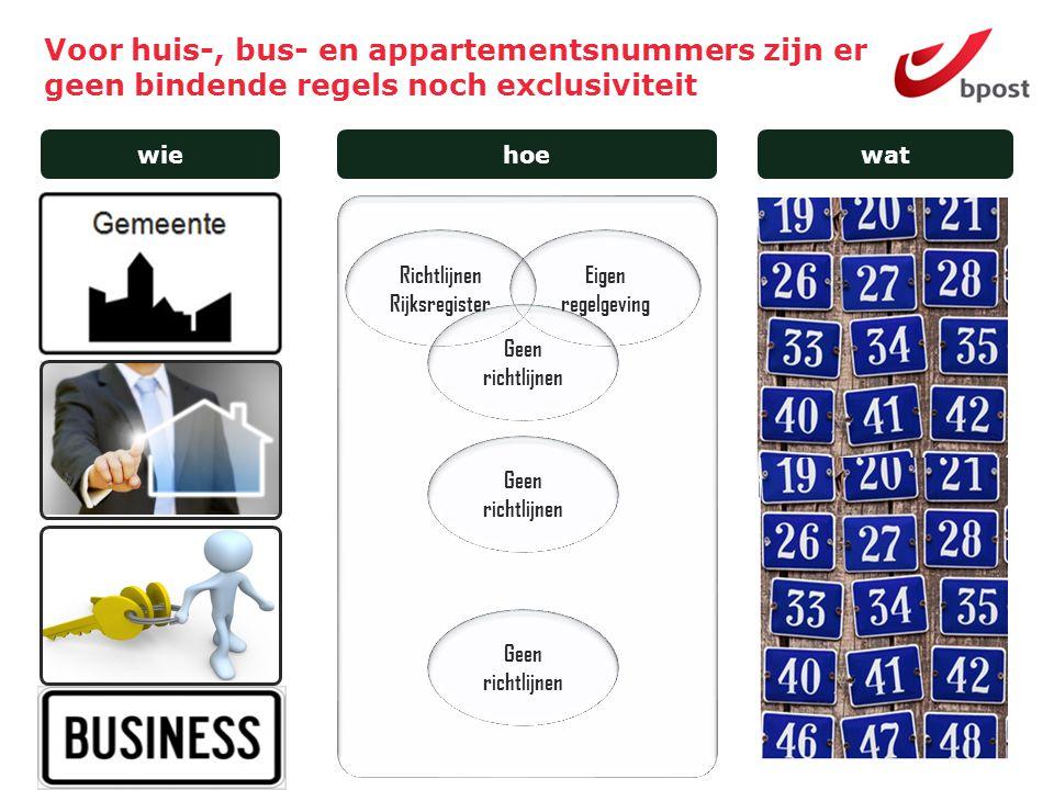15 Voor huis-, bus- en appartementsnummers zijn er geen bindende regels noch exclusiviteit wiehoewat Richtlijnen Rijksregister Eigen regelgeving Geen richtlijnen