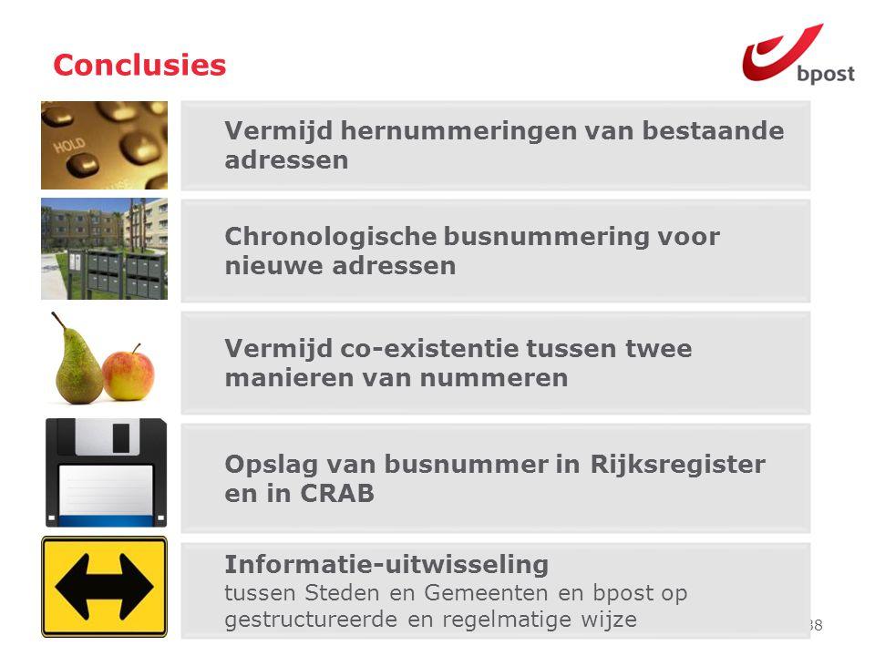 38 Chronologische busnummering voor nieuwe adressen Opslag van busnummer in Rijksregister en in CRAB Informatie-uitwisseling tussen Steden en Gemeente