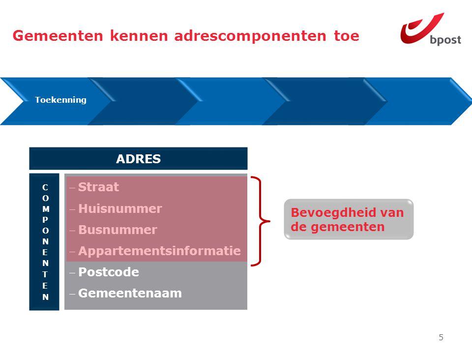 5 Assignment Gemeenten kennen adrescomponenten toe Toekenning Bevoegdheid van de gemeenten Straat Huisnummer Busnummer Appartementsinformatie Postcode Gemeentenaam ADRES