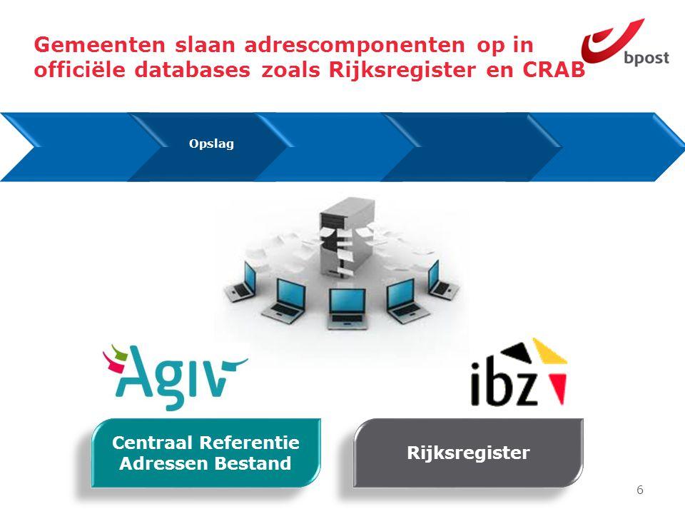 6 Gemeenten slaan adrescomponenten op in officiële databases zoals Rijksregister en CRAB Opslag Centraal Referentie Adressen Bestand Rijksregister