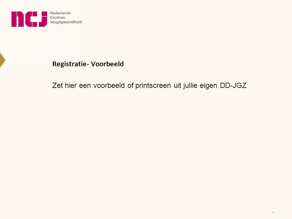 Registratie- Voorbeeld Zet hier een voorbeeld of printscreen uit jullie eigen DD-JGZ *