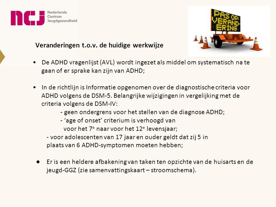 Veranderingen t.o.v. de huidige werkwijze De ADHD vragenlijst (AVL) wordt ingezet als middel om systematisch na te gaan of er sprake kan zijn van ADHD