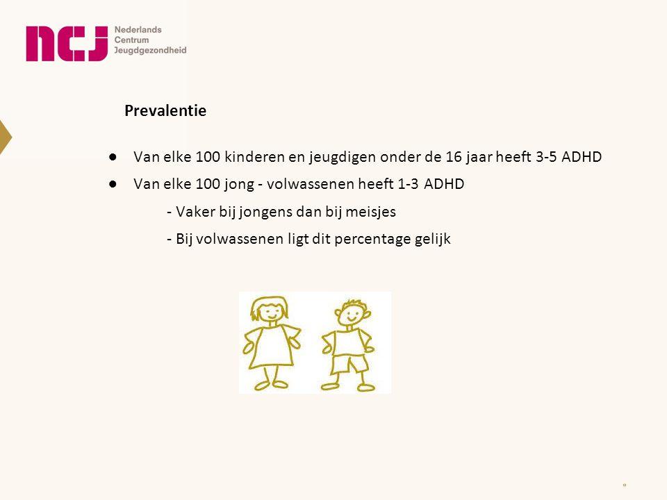 Prevalentie ●Van elke 100 kinderen en jeugdigen onder de 16 jaar heeft 3-5 ADHD ●Van elke 100 jong - volwassenen heeft 1-3 ADHD - Vaker bij jongens da