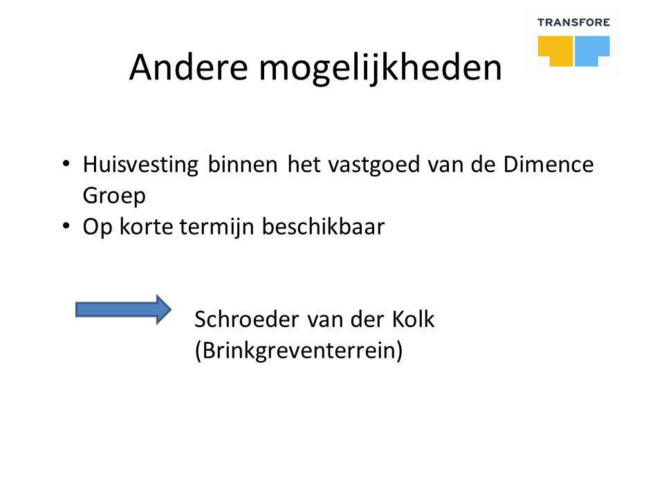 Andere mogelijkheden Huisvesting binnen het vastgoed van de Dimence Groep Op korte termijn beschikbaar Schroeder van der Kolk (Brinkgreventerrein)