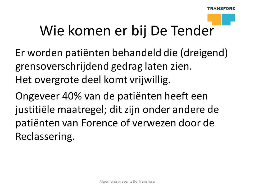 Wie komen er bij De Tender Er worden patiënten behandeld die (dreigend) grensoverschrijdend gedrag laten zien.