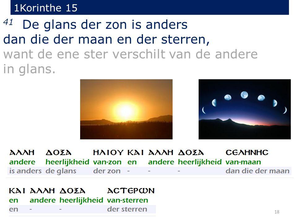 18 41 De glans der zon is anders dan die der maan en der sterren, want de ene ster verschilt van de andere in glans.