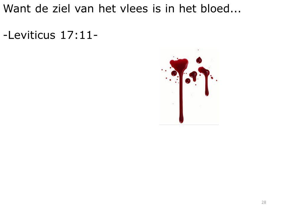 28 Want de ziel van het vlees is in het bloed... -Leviticus 17:11-