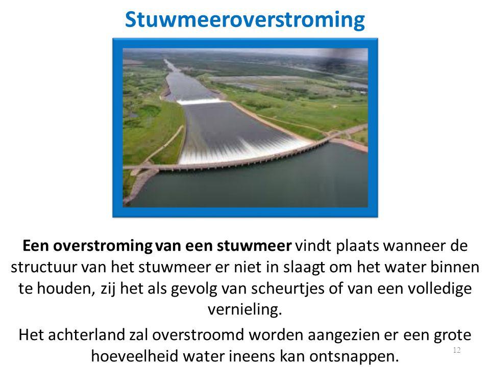 Stuwmeeroverstroming Een overstroming van een stuwmeer vindt plaats wanneer de structuur van het stuwmeer er niet in slaagt om het water binnen te houden, zij het als gevolg van scheurtjes of van een volledige vernieling.