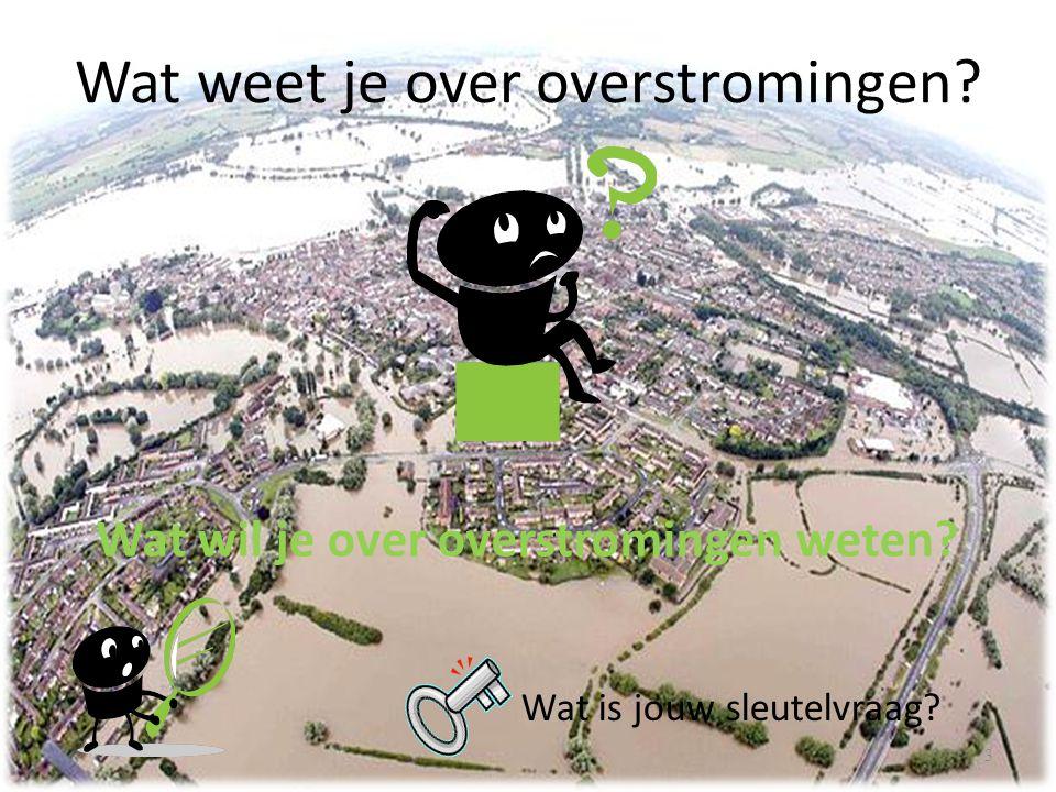 Wat weet je over overstromingen? 3 Wat wil je over overstromingen weten? Wat is jouw sleutelvraag?