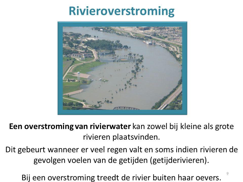Rivieroverstroming Een overstroming van rivierwater kan zowel bij kleine als grote rivieren plaatsvinden.