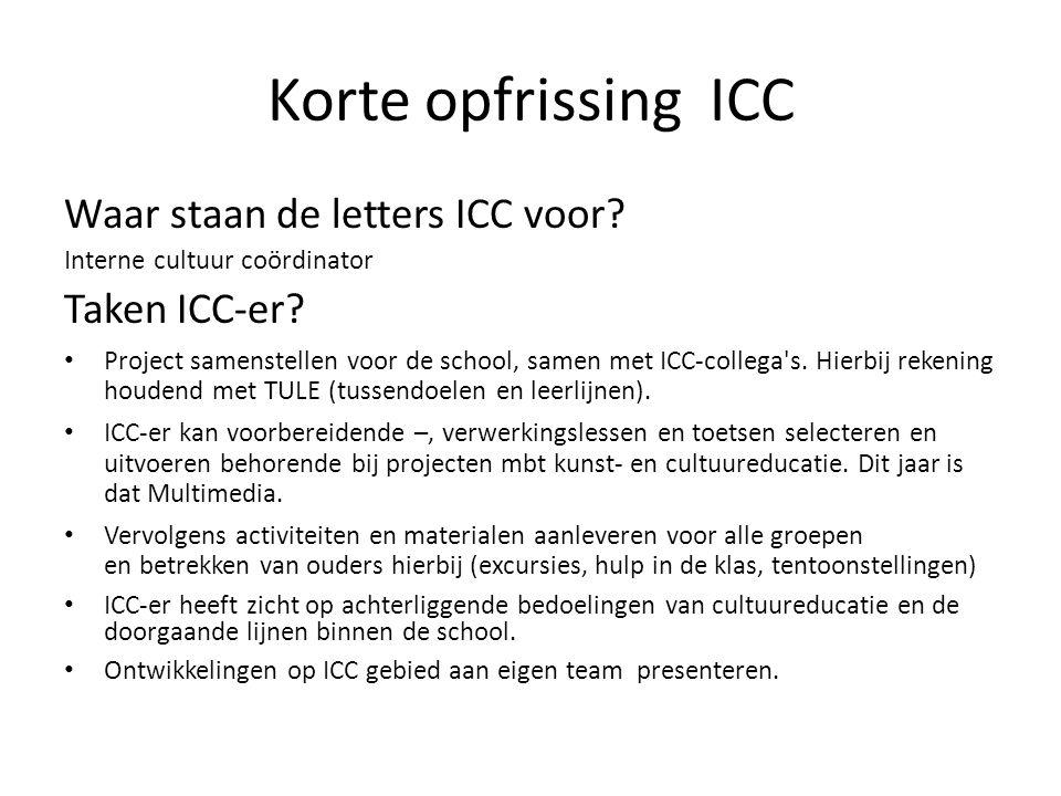Korte opfrissing ICC Waar staan de letters ICC voor? Interne cultuur coördinator Taken ICC-er? Project samenstellen voor de school, samen met ICC-coll