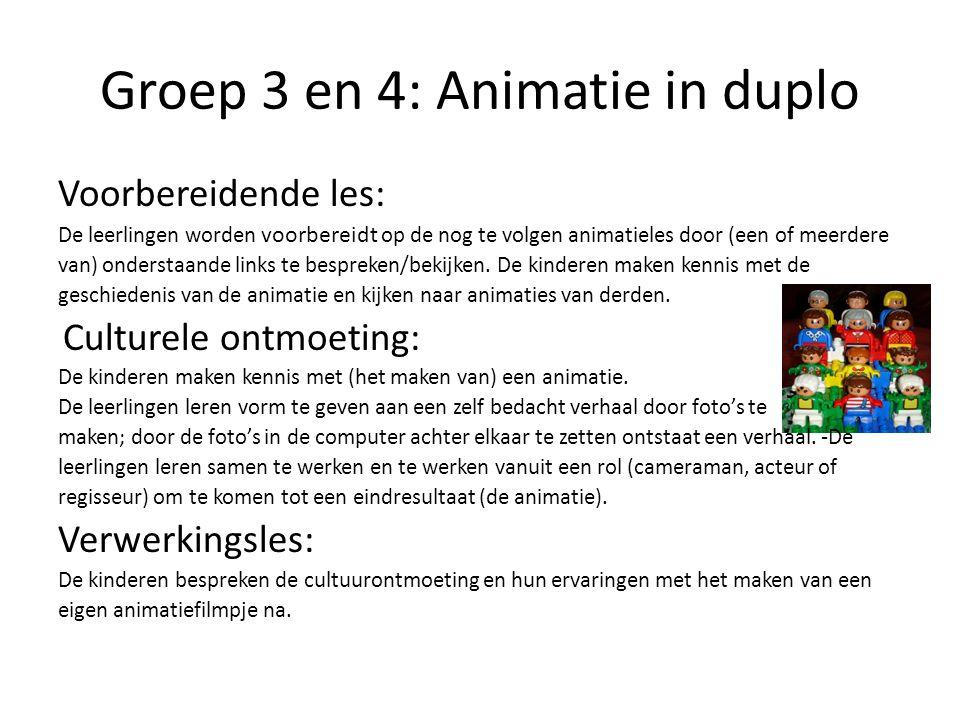 Groep 3 en 4: Animatie in duplo Voorbereidende les: De leerlingen worden voorbereidt op de nog te volgen animatieles door (een of meerdere van) onders