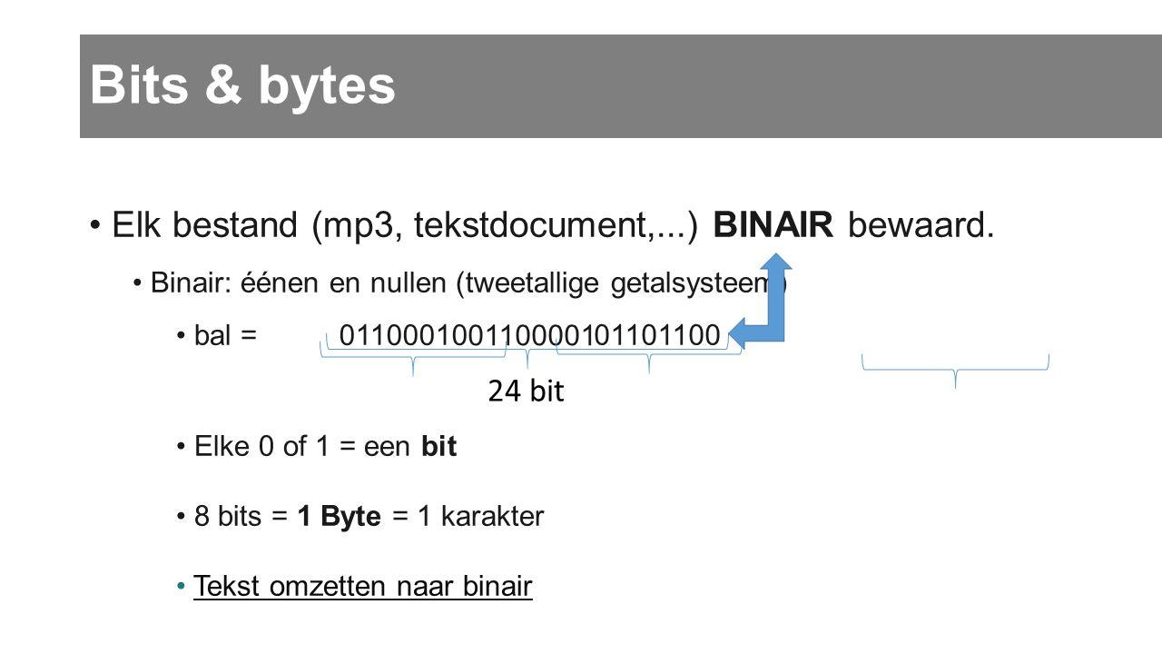 Bits & bytes Elk bestand (mp3, tekstdocument,...) BINAIR bewaard. Binair: éénen en nullen (tweetallige getalsysteem) bal = Elke 0 of 1 = een bit 8 bit