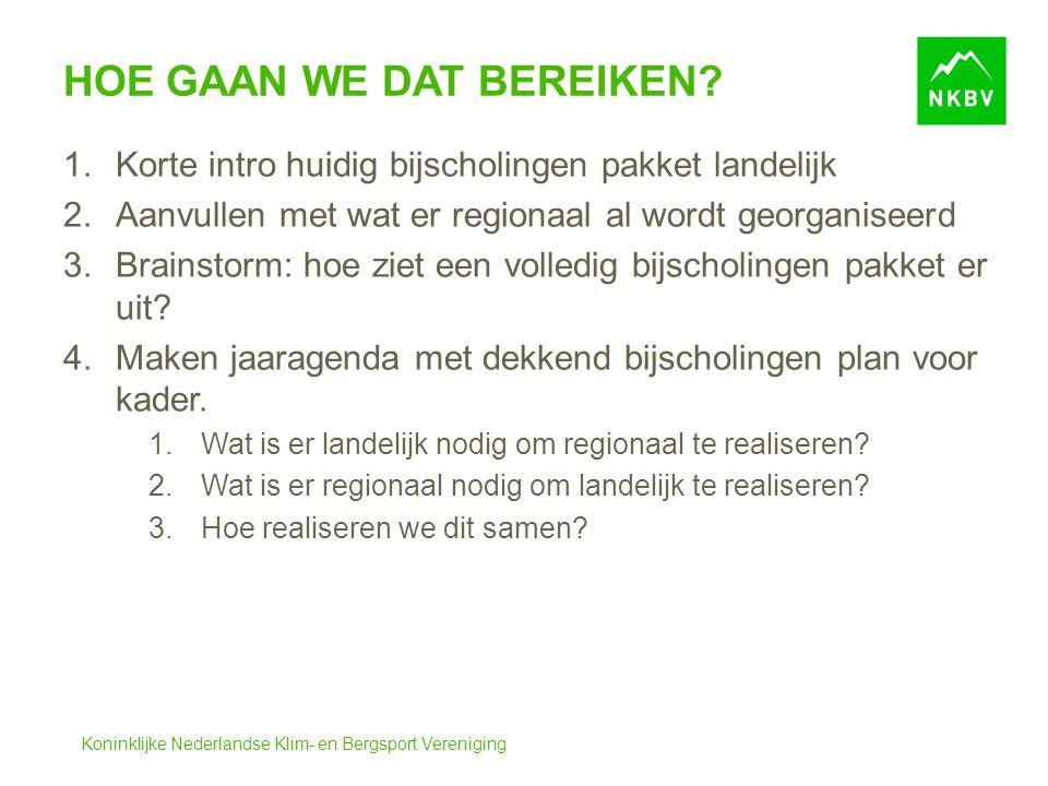 Koninklijke Nederlandse Klim- en Bergsport Vereniging HOE GAAN WE DAT BEREIKEN.