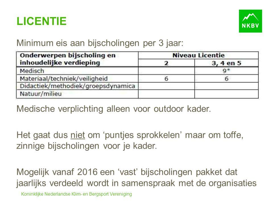 Koninklijke Nederlandse Klim- en Bergsport Vereniging LICENTIE Minimum eis aan bijscholingen per 3 jaar: Medische verplichting alleen voor outdoor kader.