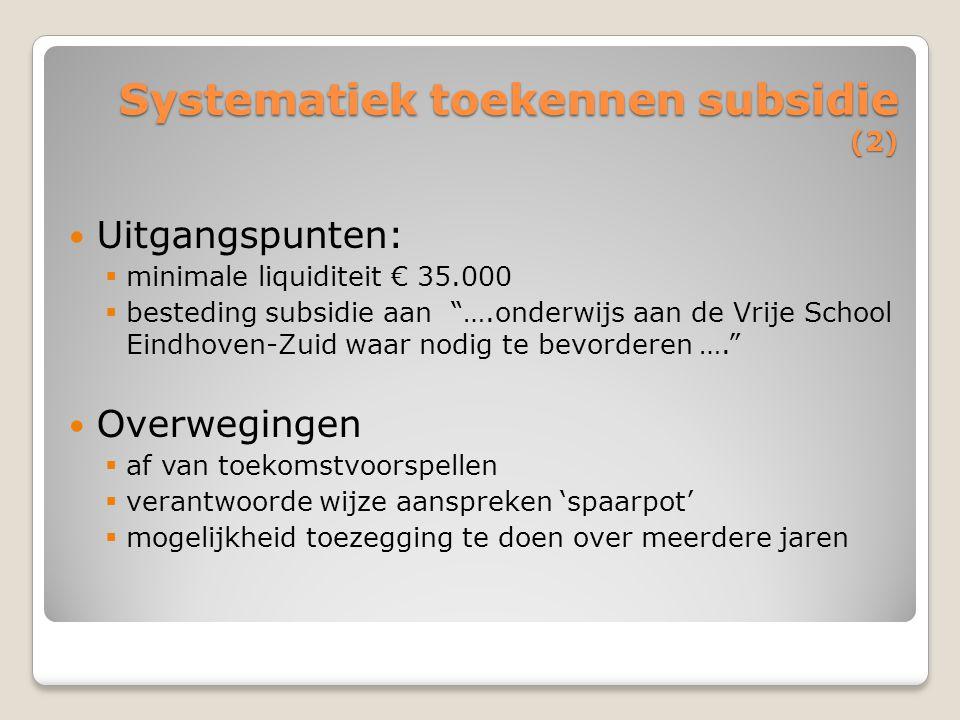 """Systematiek toekennen subsidie (2) Uitgangspunten:  minimale liquiditeit € 35.000  besteding subsidie aan """"….onderwijs aan de Vrije School Eindhoven"""