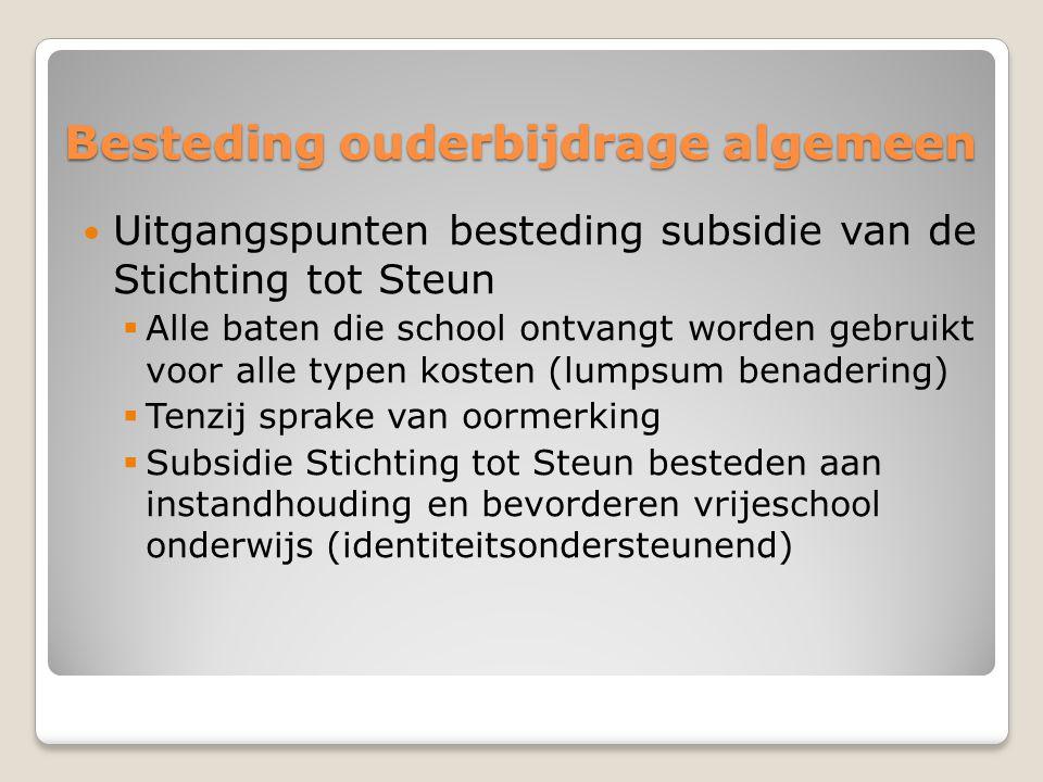 Besteding ouderbijdrage algemeen Uitgangspunten besteding subsidie van de Stichting tot Steun  Alle baten die school ontvangt worden gebruikt voor al