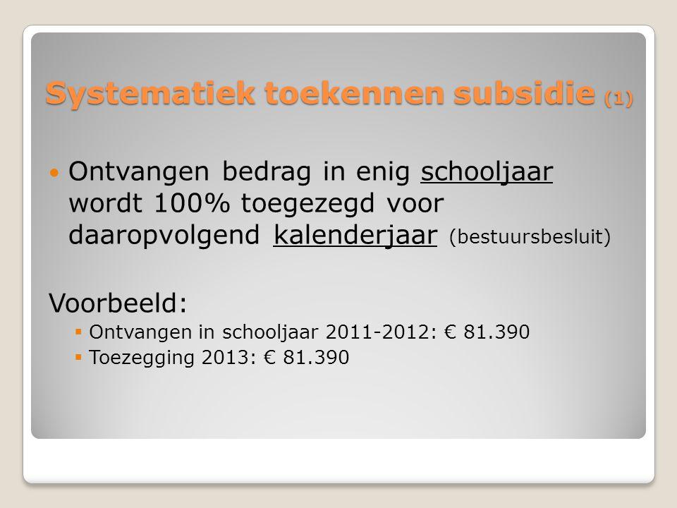Systematiek toekennen subsidie (1) Ontvangen bedrag in enig schooljaar wordt 100% toegezegd voor daaropvolgend kalenderjaar (bestuursbesluit) Voorbeeld:  Ontvangen in schooljaar 2011-2012: € 81.390  Toezegging 2013: € 81.390
