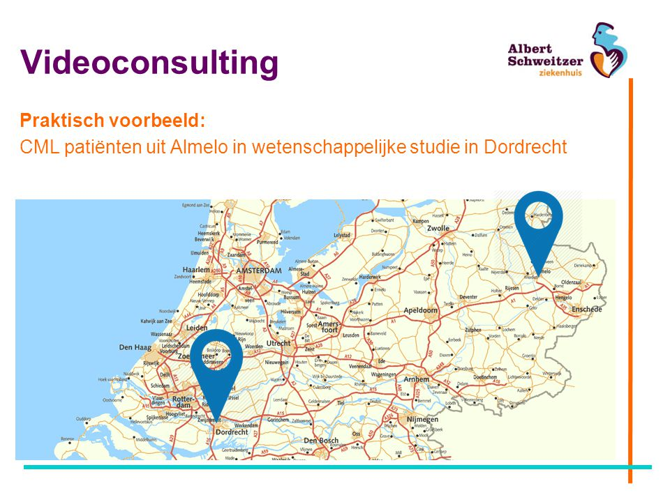 Videoconsulting Praktisch voorbeeld: CML patiënten uit Almelo in wetenschappelijke studie in Dordrecht