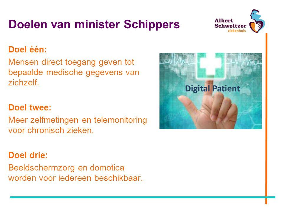 Doelen van minister Schippers Doel één: Mensen direct toegang geven tot bepaalde medische gegevens van zichzelf. Doel twee: Meer zelfmetingen en telem