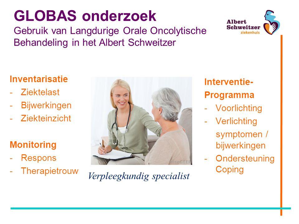 GLOBAS onderzoek Gebruik van Langdurige Orale Oncolytische Behandeling in het Albert Schweitzer Inventarisatie -Ziektelast -Bijwerkingen -Ziekteinzich