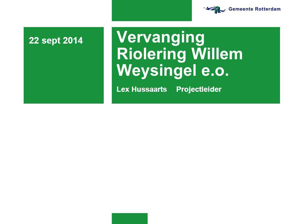 Vervanging Riolering Willem Weysingel e.o. Lex HussaartsProjectleider 22 sept 2014