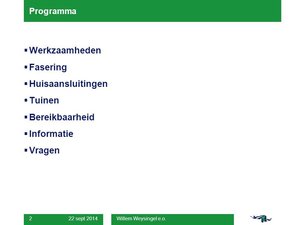 Willem Weysingel e.o. 2 Programma  Werkzaamheden  Fasering  Huisaansluitingen  Tuinen  Bereikbaarheid  Informatie  Vragen
