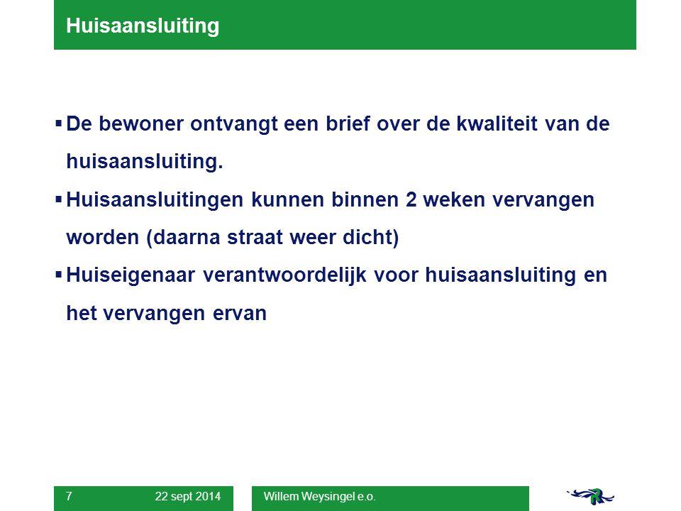 22 sept 2014 Willem Weysingel e.o. 7 Huisaansluiting  De bewoner ontvangt een brief over de kwaliteit van de huisaansluiting.  Huisaansluitingen kun
