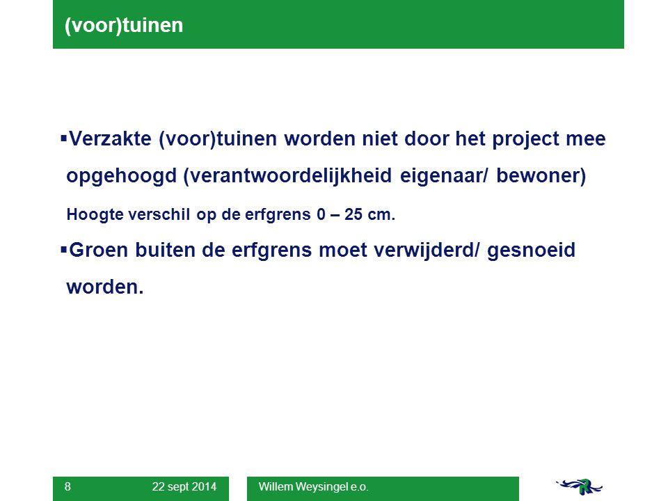 22 sept 2014 Willem Weysingel e.o. 8 (voor)tuinen  Verzakte (voor)tuinen worden niet door het project mee opgehoogd (verantwoordelijkheid eigenaar/ b