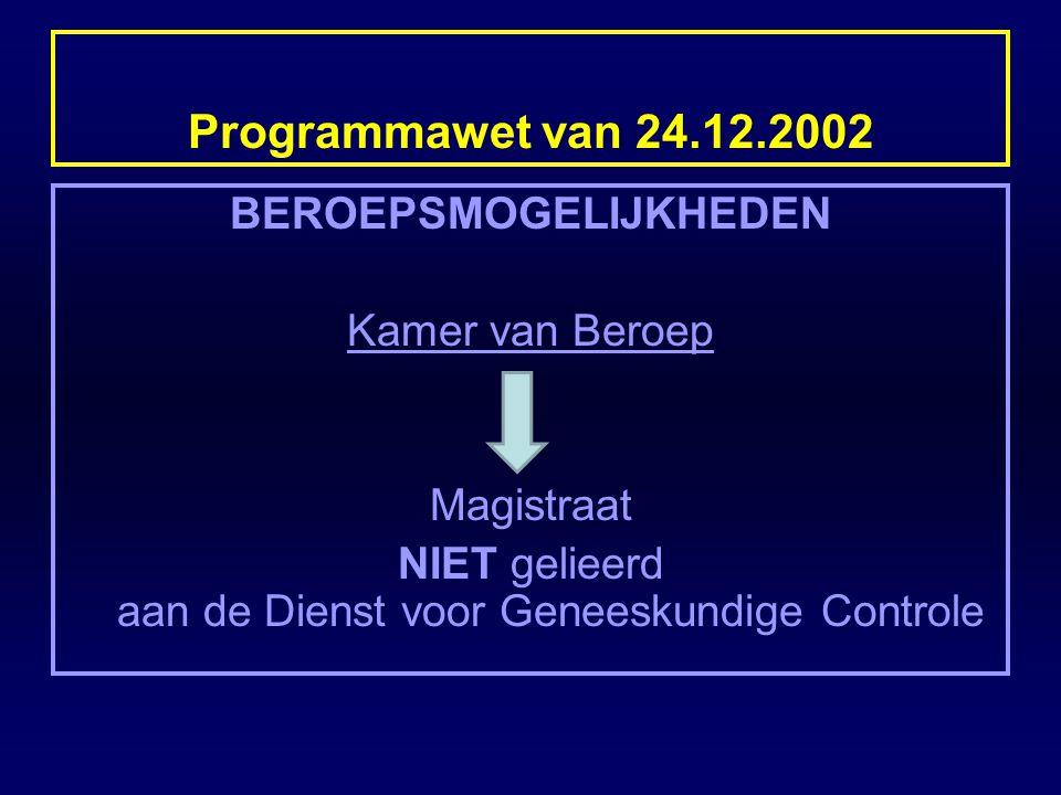 Programmawet van 24.12.2002 BEROEPSMOGELIJKHEDEN Kamer van Beroep Magistraat NIET gelieerd aan de Dienst voor Geneeskundige Controle