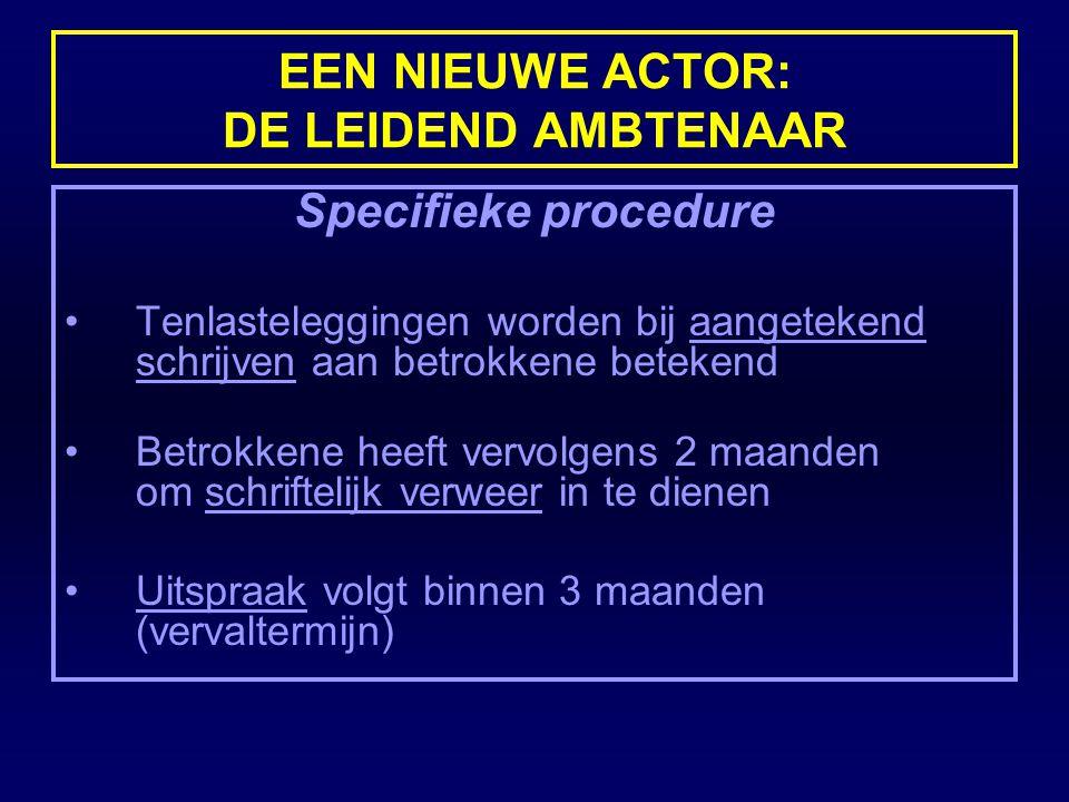 EEN NIEUWE ACTOR: DE LEIDEND AMBTENAAR Specifieke procedure Tenlasteleggingen worden bij aangetekend schrijven aan betrokkene betekend Betrokkene heef