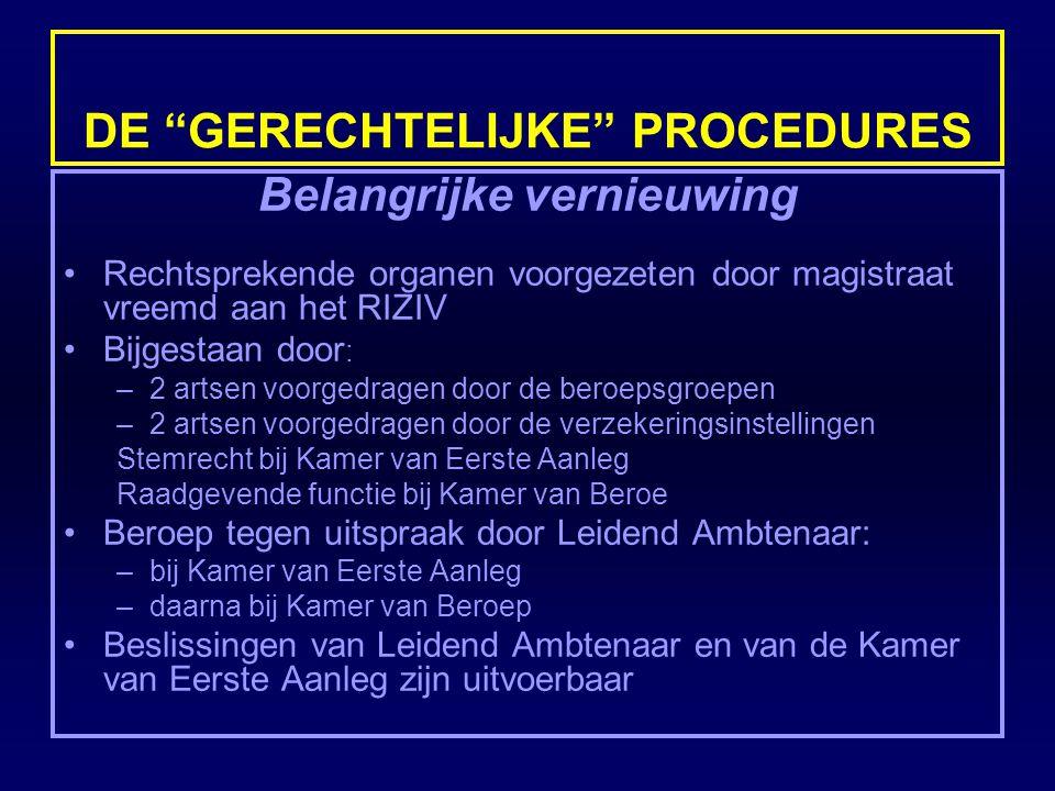"""DE """"GERECHTELIJKE"""" PROCEDURES Belangrijke vernieuwing Rechtsprekende organen voorgezeten door magistraat vreemd aan het RIZIV Bijgestaan door : –2 art"""