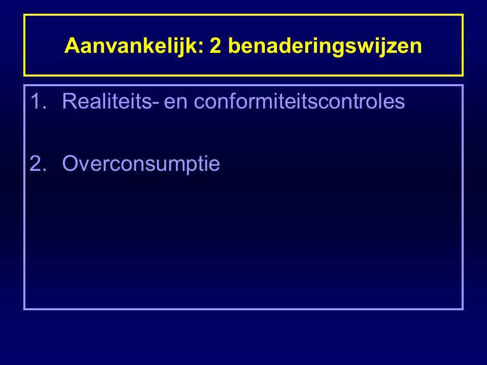 Aanvankelijk: 2 benaderingswijzen 1.Realiteits- en conformiteitscontroles 2.Overconsumptie